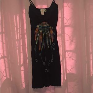 Black sundress/coverup with colorful design
